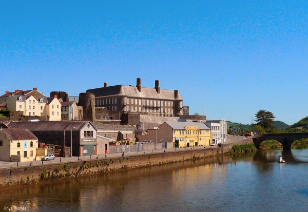 Carmarthenshire County Hall viewed from across the River Towy