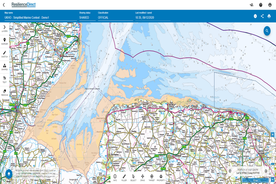 Screenshot of UKHO Simplified Marine Context Service on the ResilienceDirect platform
